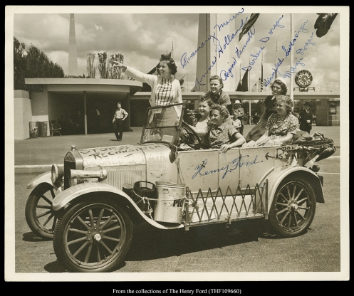 This picture shows not only Henry Fords signature but also the signatures of the 6 gals who traveled to the New York Worlds Fair in the Silver Streak in 1939.  It was found in the Henry Ford Museum Archives.