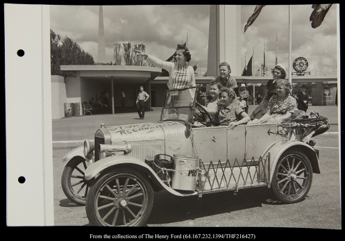 The girls missed Henry Ford in New York.  Found in the archives at The Henry Ford Museum, this picture was taken by a Ford photographer at the New York Worlds Fair and sent to Detroit for Henry Ford's Signature.