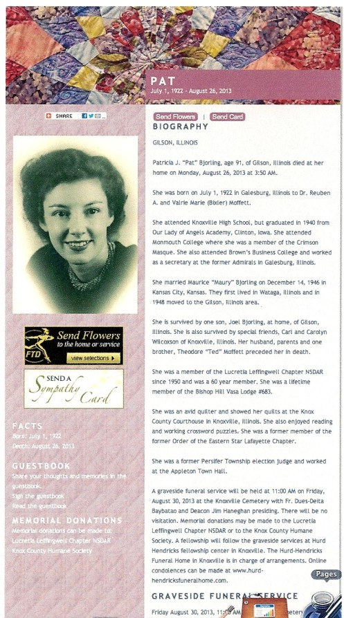 Patricia Bjorling Obituary