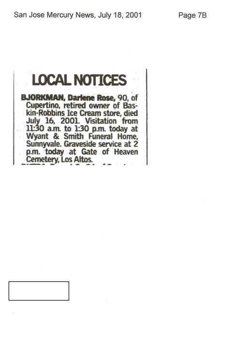 Darlene Bjorkman Obituary