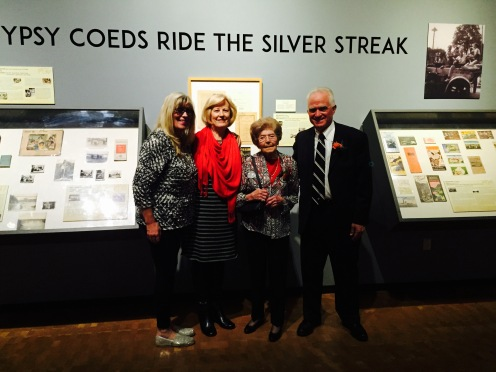 Kimberly Rusesky, grand niece of Winnie Swearingen Hays, Kathie Blakkan, Daughter of Darlene Dorgan Bjorkman, Winnie Swearingen Hays and John Butte at the Peoria Riverfront Museum reception for the exhibit opening,