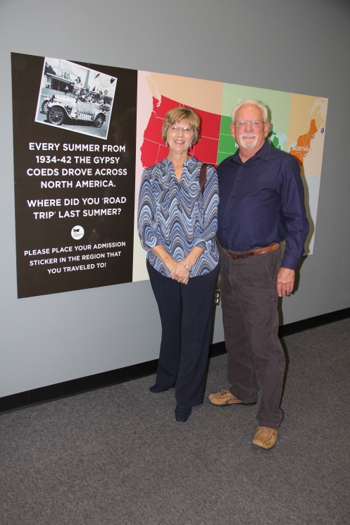 Mary & Stan Crawley enjoying the exhibit, Gypsy Coeds Ride The Silver Streak at the Peoria Riverfront Museum. Mary is the daughter of Regina Fennell Butte, who went on the 1939 trip in the Silver Streak.