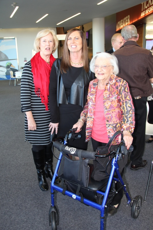 Kathy Blakkan and Carmen Butte with Jean Turnbull Campbell. Jean traveled on the 1942 trip in the Silver Streak. Kathie is the daughter of Darlene Dorgan Bjorkman. Carmen is the wife of John Butte.